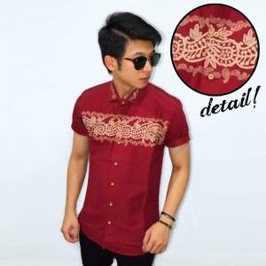 Kemeja Short Ethnic Batik Block Maroon