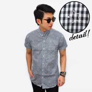 Kemeja Short Gingham Star Embroidery Black