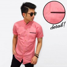 Kemeja Short Pocket List Soft Pink