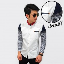 Kemeja White Sleeve Knit Stripe