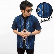 Baju Koko Pendek Bordir Tenun Blue
