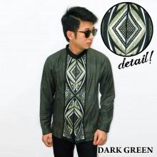 Baju Koko Panjang Bordir Ketupat Vector Dark Green