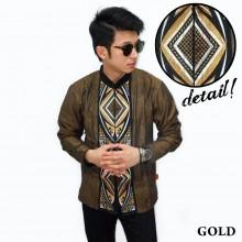 Baju Koko Panjang Bordir Ketupat Vector Gold