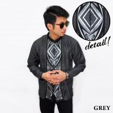 Baju Koko Panjang Bordir Ketupat Vector Grey