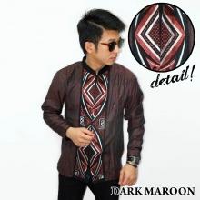 Baju Koko Panjang Bordir Ketupat Vector Dark Maroon