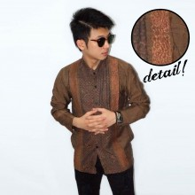 Baju Koko Panjang Double Bordir List Brown