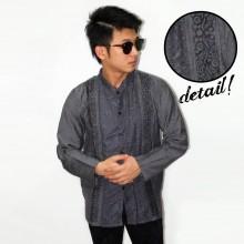 Baju Koko Panjang Double Bordir List Grey