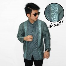 Baju Koko Panjang Double Bordir List Tosca