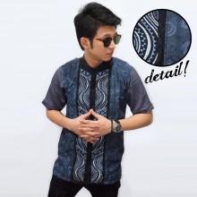 Baju Koko Pendek Bordir Combine Batik Navy