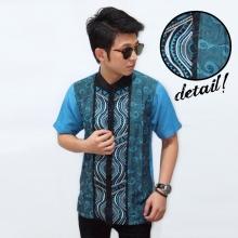 Baju Koko Pendek Bordir Combine Batik Soft Blue