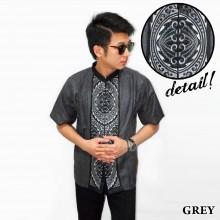 Baju Koko Pendek Bordir Gear Grey