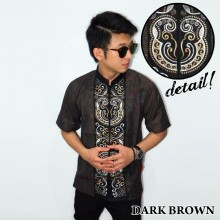 Baju Koko Pendek Bordir Keong Dark Brown