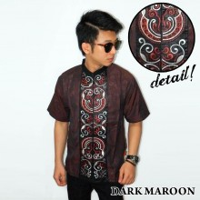 Baju Koko Pendek Bordir Keong Dark Maroon