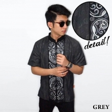 Baju Koko Pendek Bordir Keong Grey