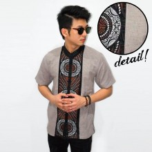 Baju Koko Pendek Bordir Three Circle Brown [LIMITED]