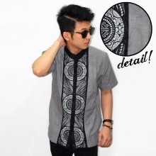 Baju Koko Pendek Bordir Three Circle Grey [LIMITED]