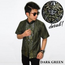 Baju Koko Pendek Bordir Vector Cahaya Dark Green