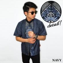 Baju Koko Pendek Bordir Vector Cahaya Navy