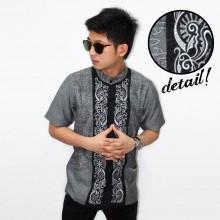Baju Koko Pendek Bordir Vector Sinar Grey