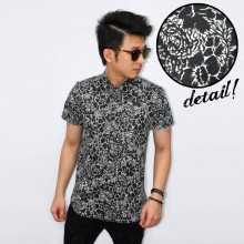 Kemeja Short Black Floral Vector
