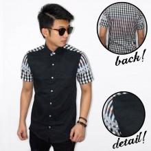 Kemeja Short Black Sleeve And Back Square