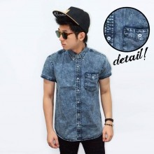Kemeja Short Denim Acid Wash
