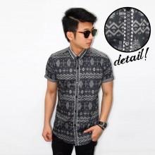 Kemeja Short Motif Batik Songket Black