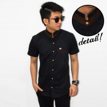 Kemeja Short Shanghai List Suede Black