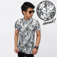 Kemeja Short White Floral Vector