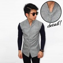 Kemeja Stand Collar Stripe Black