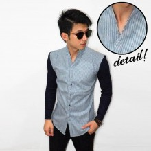 Kemeja Stand Collar Stripe Blue