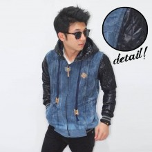 Jacket Denim Sleeve Leather Quilted