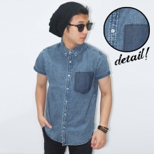Kemeja Short Denim Pocket Fake