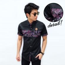 Kemeja Short Middle Batik Sleeve Leather