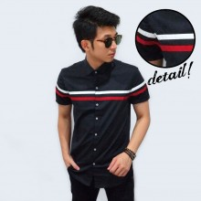 Kemeja Short Middle Two Line Black