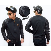 Varsity Jacket Sleeve Leather Quilted Black