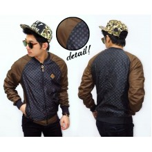 Varsity Jacket Parachute Dotty Combine Leather