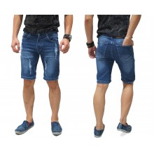 Celana Pendek Denim Ripped Blue
