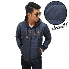 Jacket Puffer Square Motif Navy