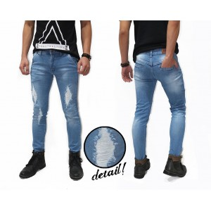 Jeans Ripped Three Destroyed Kakkoii Soft Blue