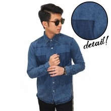 Kemeja Denim Double Pocket Fake