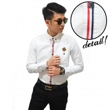 Kemeja Long Oxford Ribbon List White