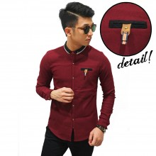 Kemeja Premium Pocket Badge Maroon