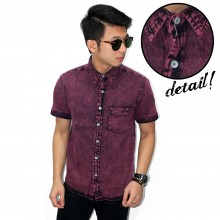 Kemeja Short Denim Stone Wash Burgundy