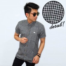 Kemeja Short Gingham Check Black