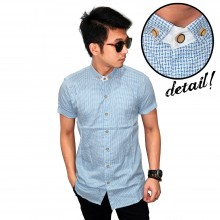 Kemeja Short Small Webbing Blue