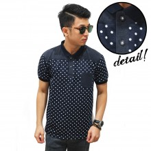 Polo Polkadot Pattern Top Block Black