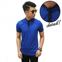 Shanghai Collar Basic T-Shirt Blue