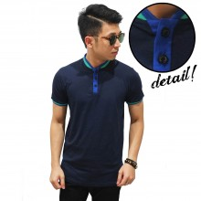 Shanghai Collar Basic T-Shirt Navy