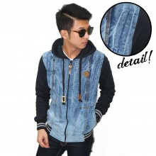 Jacket Denim Hoodie Whisker Wash